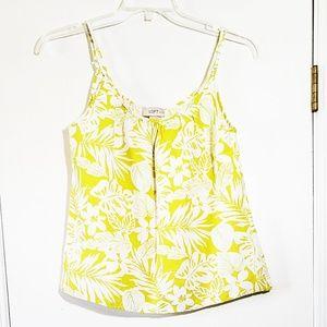 LOFT Linen Crop Swing Tank Cami MP Yellow Floral
